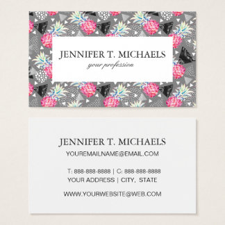 Geometric Pineapple Textured Pattern Business Card