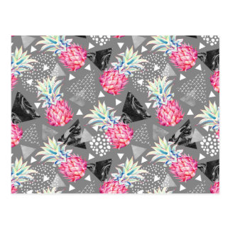 Geometric Pineapple Textured Pattern Postcard