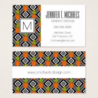 Geometric Pineapples | Monogram Business Card