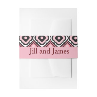Geometric Pink and Black Invitation Belly Band