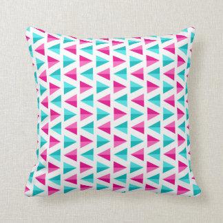 Geometric Pink & Aqua Blue Triangles Pattern Cushion