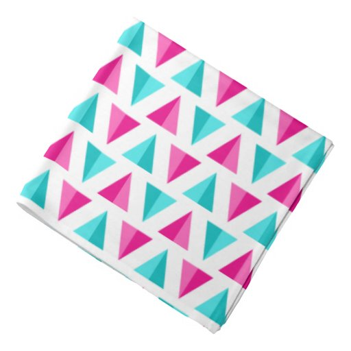 Geometric Pink & Aqua Blue Triangles Pattern Bandana