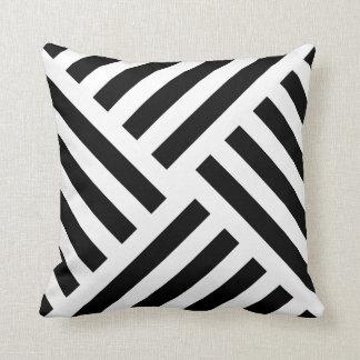 Geometric Pinwheel Stripe in Black and White Cushion