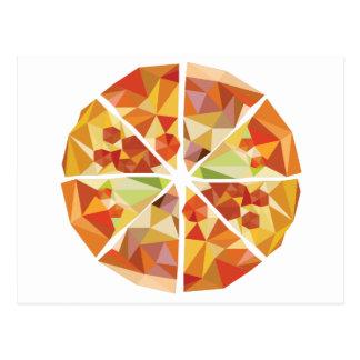 Geometric pizza postcard