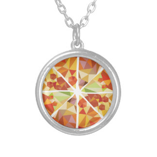 Geometric pizza silver plated necklace