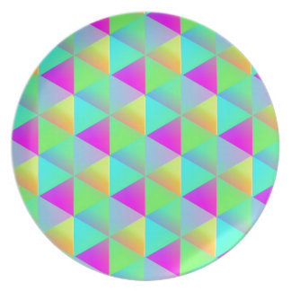 Geometric Popping Rainbow Block Cubes Patterned Plate