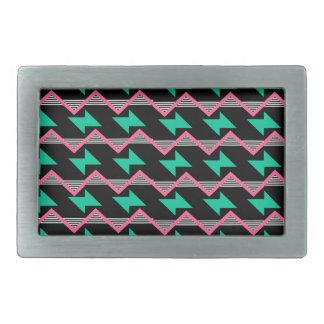 geometric print rectangular belt buckle
