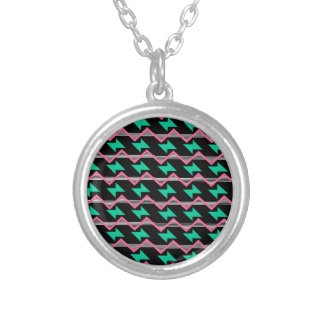 geometric print silver plated necklace