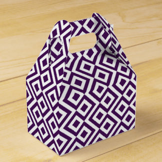 Geometric Purple and White Meander Favor Box Wedding Favour Boxes
