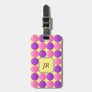 Geometric Purple Quatrefoil Monogram Luggage Tag