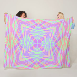 Geometric Rainbow Mandala Pattern Fleece Blanket