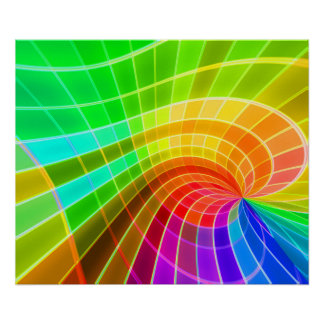 Geometric Rainbow Swirl Poster