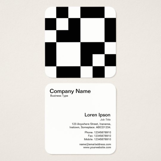 Geometric Rectangles and Squares - Black and White Square Business Card