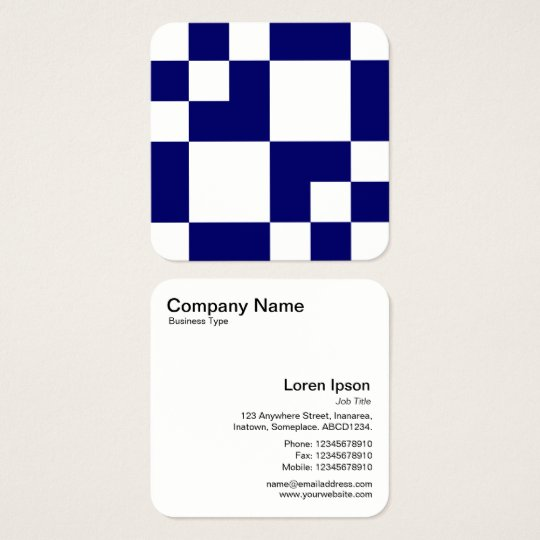 Geometric Rectangles and Squares - Deep Navy Blue Square Business Card