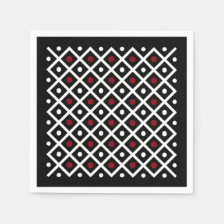 Geometric Red Circles & White Squares Pattern Disposable Napkins