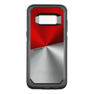 Geometric Red & Silver Metallic Look