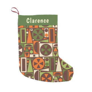 Geometric Retro 1950s Mid-Century Modern Abstract Small Christmas Stocking