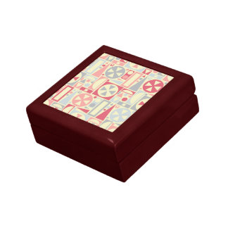 Geometric Retro 1950s Midcentury Modern Pink Small Square Gift Box