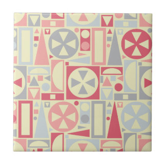 Geometric Retro 1950s Midcentury Modern Pink Small Square Tile