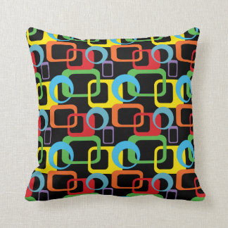 Geometric Retro Multicolored Pattern Throw Pillow