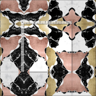 Geometric rose gold black white marble color block fabric