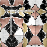 Geometric rose gold black white marble colour fabric