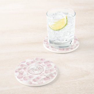 Geometric rose gold pineapples marble pattern coaster