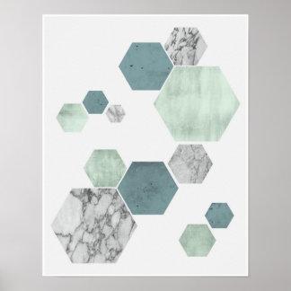 Geometric, scandinavian coastal hues art print