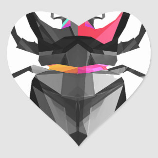 Geometric Scarab Heart Sticker