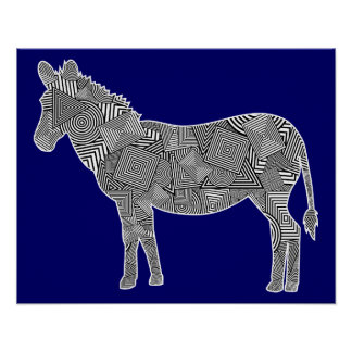 Geometric Shape Collage Zebra (Blue Background) Poster