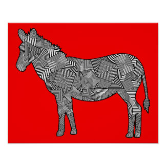 Geometric Shape Collage Zebra (Red Background) Posters