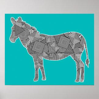 Geometric Shape Collage Zebra Turquoise Background Poster