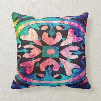 Geometric shape in colorful nebula throw Pillow