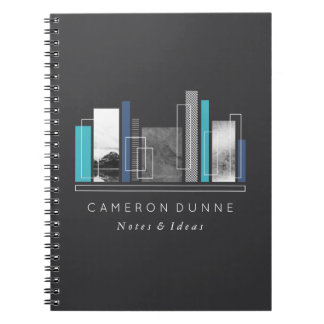 Geometric Shapes Blue & Gray Notebook