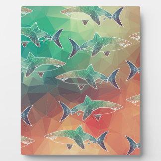 Geometric Sharks Plaque