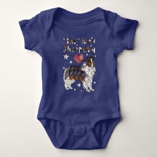 Geometric Shetland Sheepdog Baby Bodysuit
