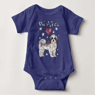 Geometric Shih Tzu Baby Bodysuit