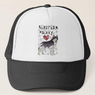 Geometric Siberian Husky Trucker Hat