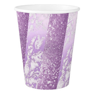 Geometric Silver White  Purple Glitter Marble Paper Cup