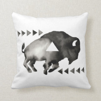 Geometric Sleepy Buffalo . Modern . Black White Cushion