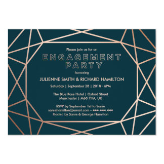 Geometric | Sophisticated Engagement Party 13 Cm X 18 Cm Invitation Card