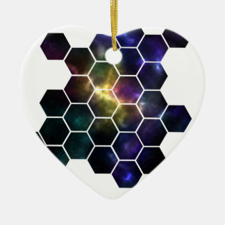 geometric space ceramic heart decoration