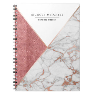 Geometric Sparkling Pink and Gold Marble Notebook