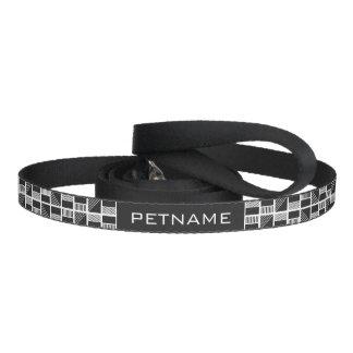 Geometric Squares custom text dog leash