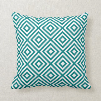 Geometric Squares Pattern #1A Teal Blue and White Cushion