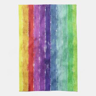 Geometric Stripes Watercolor Tea Towel