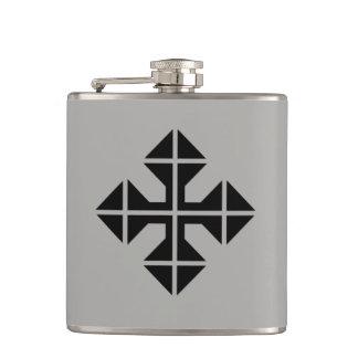 Geometric style black Cross Hip Flask