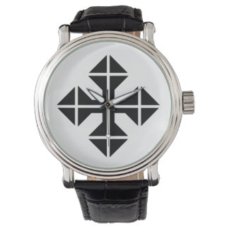 Geometric style black Cross Wristwatch