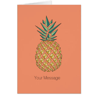 Geometric Style Golden Pineapple Card