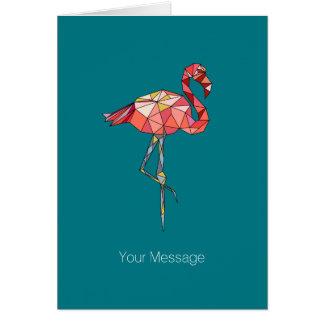 Geometric Style Pink Flamingo Card